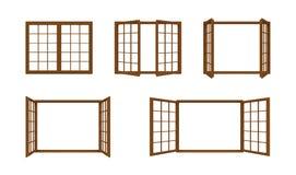 Struttura della finestra di Brown isolata su fondo bianco Immagine Stock Libera da Diritti