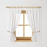 Struttura della finestra di legno d'annata con la tenda isolata su fondo bianco Fotografie Stock Libere da Diritti