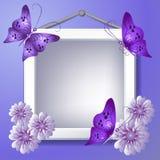 Struttura della foto con i fiori e le farfalle Fotografia Stock