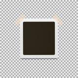 Struttura della foto con il contorno bianco e nastro appiccicoso su un fondo grigio royalty illustrazione gratis