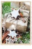 Struttura della foto dei biscotti della cannella del regalo di Natale Fotografia Stock Libera da Diritti