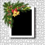 Struttura della foto di Natale Modello del telaio per le foto festive con le decorazioni illustrazione di stock