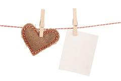 Struttura della foto e cuore del giocattolo di giorno di biglietti di S. Valentino Immagini Stock Libere da Diritti
