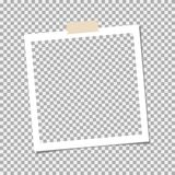 Struttura della foto della polaroid con nastro adesivo appiccicoso su fondo grigio Modello, spazio in bianco per la vostra foto d illustrazione di stock