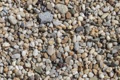 Struttura della ghiaia Piccole pietre, piccole rocce, ciottoli in molte tonalità di grigio, di bianco, di marrone, di verde e di  fotografie stock