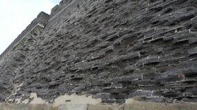Struttura della grande muraglia della città antica Alterazione causata dagli agenti atmosferici della muratura archivi video