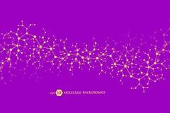 Struttura della molecola con le particelle Ricerca medica scientifica Backgroud di scienza e tecnologia Concetto molecolare illustrazione di stock