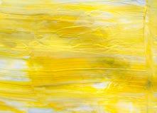 Struttura della pittura ad olio, fondo giallo astratto immagini stock