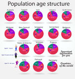 Struttura della popolazione in relazione all'età della popolazione Immagine Stock Libera da Diritti