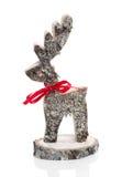 Struttura della renna fatta a mano di legno non trattata per natale - ha Fotografie Stock Libere da Diritti