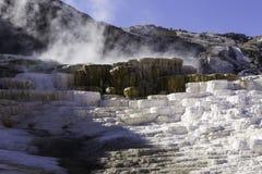 Struttura della roccia di Yellowstone ed attività del termale Fotografia Stock