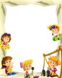 Struttura della sabbia del fumetto con i bambini per lo spazio differente di uso per testo illustrazione vettoriale