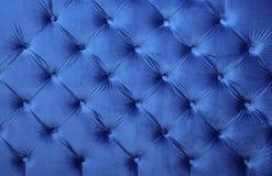Struttura della tappezzeria del tessuto trapuntata capitone blu Fotografie Stock Libere da Diritti
