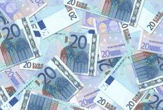 Struttura delle 20 un'euro note Fotografia Stock