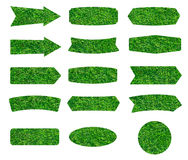 Struttura delle etichette dell'erba verde isolate su fondo bianco Fotografia Stock Libera da Diritti
