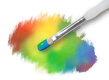 Struttura dello Splatter della vernice del Rainbow con il pennello Fotografia Stock
