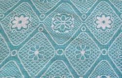 Struttura, densa, tessuto, con l'originale, floreale, modello, su fondo blu scuro, blu, bianco, blu, Soviet, fondo, in bianco Immagine Stock Libera da Diritti