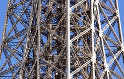 Struttura di acciaio della Torre Eiffel Fotografia Stock Libera da Diritti