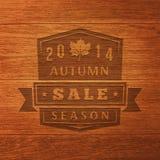 Struttura 2014 di Autumn Sale Label On Wood Vettore Fotografie Stock Libere da Diritti