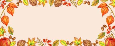 Struttura di autunno delle foglie delle bacche illustrazione di stock