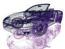 Struttura di Car di modello su bianco Fotografia Stock