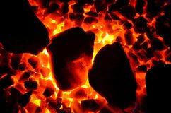Struttura di carbone bruciante Immagini Stock