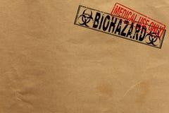 Struttura di carta con i bolli di uso medico e di bio- rischio soltanto Fotografia Stock Libera da Diritti