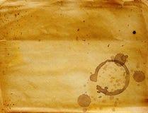 Struttura di carta con le gocce di caffè fotografia stock