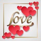 Struttura di carta dei cuori dei biglietti di S. Valentino con il dettaglio della scintilla dell'oro Elementi felici di giorno di illustrazione di stock