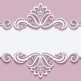Struttura di carta del ritaglio con l'ornamento del confine del pizzo Fotografia Stock