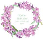 Struttura di carta rotonda del fiore floreale L'acquerello delicato dell'estate della primavera fiorisce l'invito di nozze Posto  Fotografia Stock Libera da Diritti
