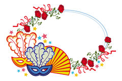 Struttura di colore con le maschere e le rose rosse di carnevale Clipart del quadro televisivo Fotografia Stock Libera da Diritti