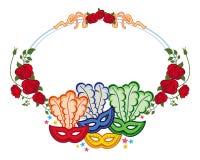 Struttura di colore con le maschere e le rose rosse di carnevale Clipart del quadro televisivo Fotografie Stock
