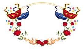 Struttura di colore con le maschere e le rose rosse di carnevale Clipart del quadro televisivo Fotografie Stock Libere da Diritti