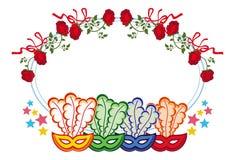 Struttura di colore con le maschere e le rose rosse di carnevale Clipart del quadro televisivo Immagine Stock Libera da Diritti