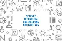 Struttura di concetto di scienza, di tecnologia, di ingegneria e di per la matematica illustrazione vettoriale