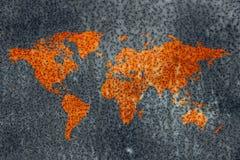 Struttura di corrosione della mappa del metallo di decadimento del mondo fotografia stock