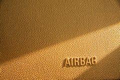 Struttura di cuoio marrone con la parola del sacco ad aria fotografie stock