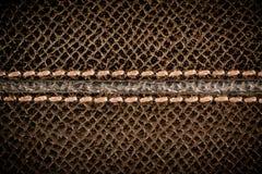 Struttura di cuoio marrone senza cuciture con la cucitura Fotografie Stock