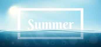 Struttura di estate con il mare subacqueo, le onde ed il cielo illustrazione di stock