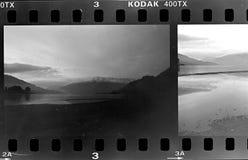 Struttura di film, macchina fotografica analogica in bianco e nero, lago di Como, Italia fotografia stock libera da diritti