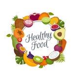 Struttura di frutti tropicali Alimento sano Alimento biologico Stile piano, v royalty illustrazione gratis
