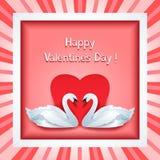Struttura di giorno di biglietti di S. Valentino con due cigni 3d e cuori Immagine Stock