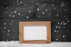 Struttura di Gray Christmas Card With Picture, fiocchi di neve, spazio della copia Immagini Stock