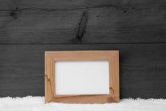 Struttura di Gray Christmas Card With Picture, spazio della copia, neve Fotografia Stock