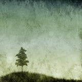 Struttura di Grunge con il singolo albero illustrazione vettoriale