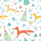 Struttura di inverno con le volpi royalty illustrazione gratis