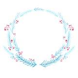 Struttura di inverno, corona dell'acquerello Blu dipinto a mano Fotografie Stock