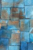 Struttura di legno blu di sezione trasversale Fondo di legno d'annata Immagini Stock Libere da Diritti