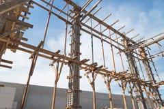 Struttura di legno che sostiene la struttura del fascio Fotografia Stock